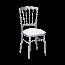 Zilveren Napoleon stoel met witte fluwelen zit