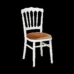 Chaise Napoléon blanche en bois avec galette dorée