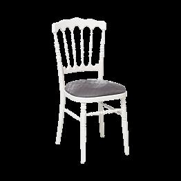 Chaise Napoléon blanche en bois avec galette gris argentée