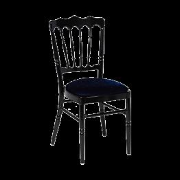 Zwarte Napoleon stoel in aluminium met blauwe fluwelen zit