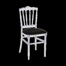 Chaise Napoléon transparente en plexi avec galette noire