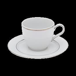 Koffietas 18cl  Silver met  ondertas