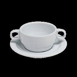 Bol et sous-tasse à consommé avec anses 25 cl blanc