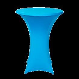 Table mange debout houssée stretch turquoise