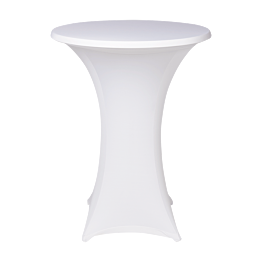 Table mange debout  houssée stretch blanc
