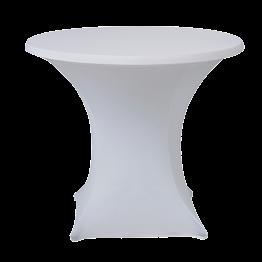 Table ronde Ø 85 cm houssée stretch blanc H 75 cm