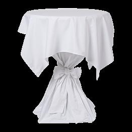 statafel met wit linnen Ø 85 x H 110 cm