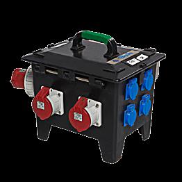 Verdeelkast 63A blauw in 2 x 32 - 2 x 16 - 4 x 220 V