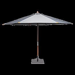 Ronde parasol Ø 350cm smoke met vierkante voet 60x60cm