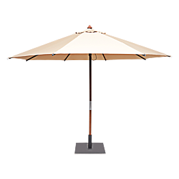 Ronde parasol Ø 350cm zand met vierkante voet 60x60cm