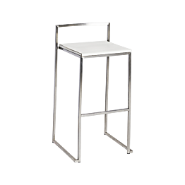 Tabouret Cubic assise blanche H 74 cm