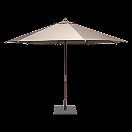 Taupe Ronde parasol Ø 350cm smoke met vierkante voet 60x60cm