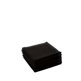 Serviettes tissu noir 2 plis 10 x 10 cm (par 30)