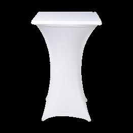 vierkante statafel met witte stretch hoes 75 x 75 x H 110 cm