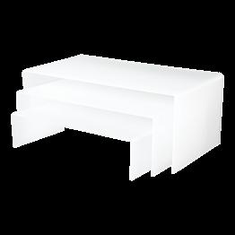 Set van 3 witte in elkaar schuivende hoge onderzetters