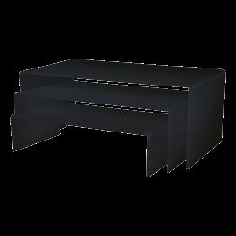 Set van 3 zwarte in elkaar schuivende hoge onderzetters