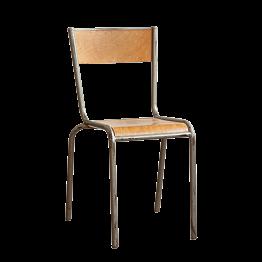 Chaise d'écolier bois acier vintage