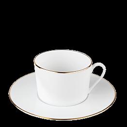 Tasse et sous-tasse à thé Plane Filet Or 22 cl