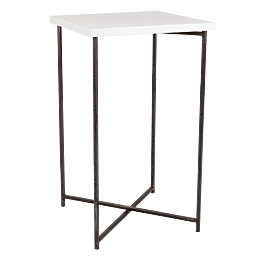 Gekruiste Hoge tafel staal wit blad 65 x 65 cm H 110 cm