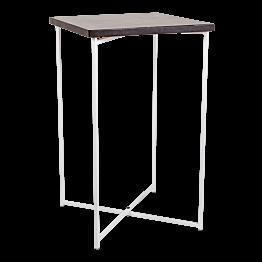 Gekruiste Hoge tafel wit zwart blad 65 x 65 cm H 110 cm