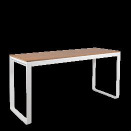 Table haute blanche plateau nature 230 x 80 cm H 110 cm