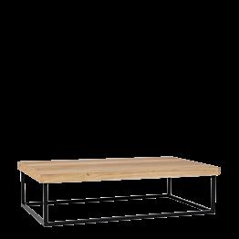 Zwarte lage Linea-tafel met eiken blad 97 x 60 cm H 27 cm
