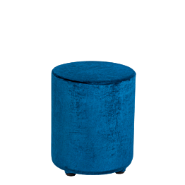 Pouf velours bleu pétrole Ø 40 cm H 48 cm