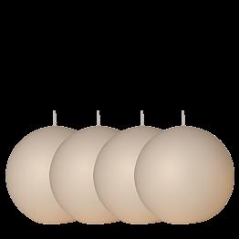 Lot de 4 bougies boule satinée ivoire Ø 10 cm