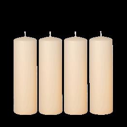 Lot de 4 bougies ivoires cylindre Ø 6 cm H 20 cm