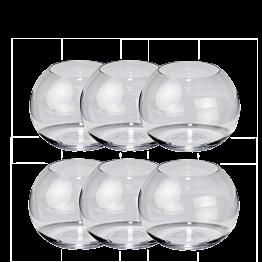Set van 6 bolvormige vazen H 9,5 cm Ø 12 cm