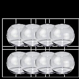Set van 8 bolvormige vazen H 7,5 cm Ø 8,5 cm