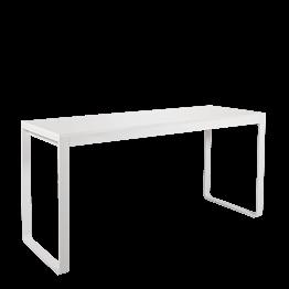 Table haute blanche plateau blanc 80 x 230 cm H 110 cm